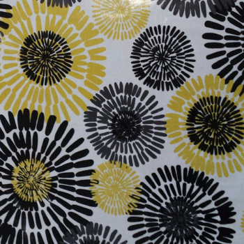 Laminated Cotton yellow, grey black flowers